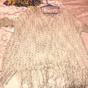 Umgee USA tan and cream poncho sweater